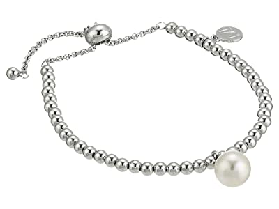 Majorica 10mm Round Pearl on Steel Beaded Bracelet 6.5-11 (White) Bracelet