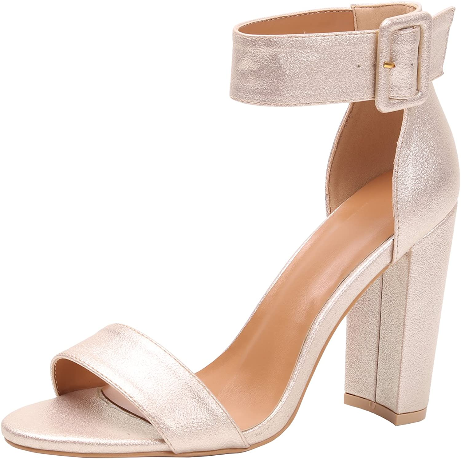 Fenny Fong Women's Chunky Block Strappy High Heel Sandals