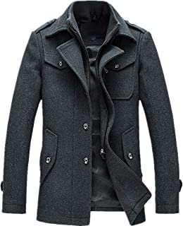 bdccf1c4d66c T D Men s Winter Thicken Warm Stand Collar Wool Coat Single Breasted ...