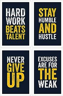 Damdekoli Motivational Posters, 11x17 Inches, Set of 4, Wall Art, Hustling, Entrepreneur Decoration, Inspirational Print Hustle Color