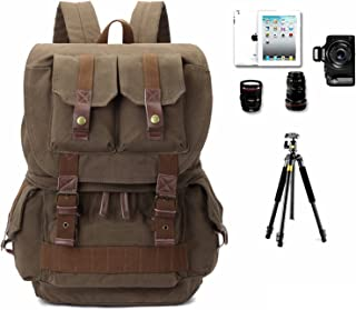 Camera Backpack Canvas Camera Bag for DSLR/SLR Cameras (Canon, Nikon, Sony and etc), Flashes, Lenses and Accessories (Army...