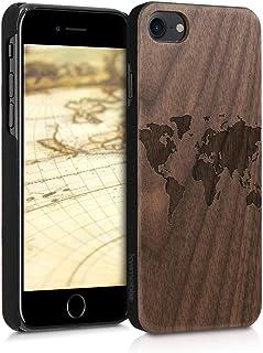 kwmobile Funda para Apple iPhone 7/8 - Carcasa de [Madera] - Case Trasero Protector [Duro] con diseño de Mapa del Mundo