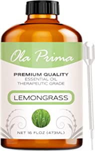 Ola Prima 16oz - Premium Quality Lemongrass Essential Oil (16 Ounce Bottle) Therapeutic Grade Lemongrass Oil