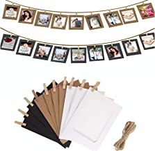 Paper Picture Frames 4x6 Kraft,Wall Hanging with Wooden Clip and String,Picture Album for Party Decoration 10 Pcs(5.2 x 3....