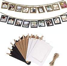 مجموعة اطارات صور ورقية تعلق على الحائط مع مشبك خشبي وشريط، 10 قطع من البوم صور لتزيين الحفلات (5.2 × 3.8 انش)