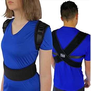 """ComfyMed® Posture Corrector Clavicle Support Brace CM-PB16 Device to Improve Bad Posture, Thoracic Kyphosis, Shoulder Alignment, Upper Back Pain Relief for Men and Women (REG (29""""-40"""" Chest))"""