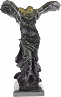 Handmade European Bronze Sculpture Signed Winged Of Victory Samothrace On Marble Base Figure Bronze Statue -1X-58506-Decor Collectible Gift