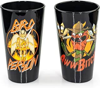 Official Rick & Morty Themed Pint Glasses   16 Oz. Drinking Glasses Feat. Scary Terry & Bird Person   Set of 2