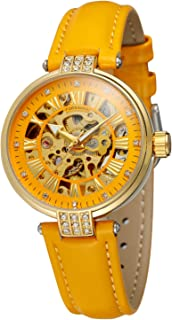 Forsining Women's Automatic Movement Analog Skeleton Beautiful Dial Wristwatch with Leather Strap