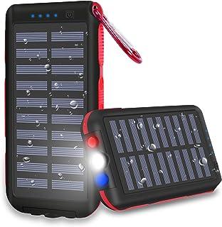 CXLiy モバイルバッテリー ソーラーチャージャー 大容量急速充電器 25000mah PSE認証済 防水が実現 高輝度LEDライト付き SOS発信 ソーラーパネルを搭載 旅行/キャンプ/ハイキング/登山/地震/災害/旅行/出張/アウトドア活動などの必携品 99% 機種対応 持ち運びに便利 再用ナイロン袋付き 滑り止め