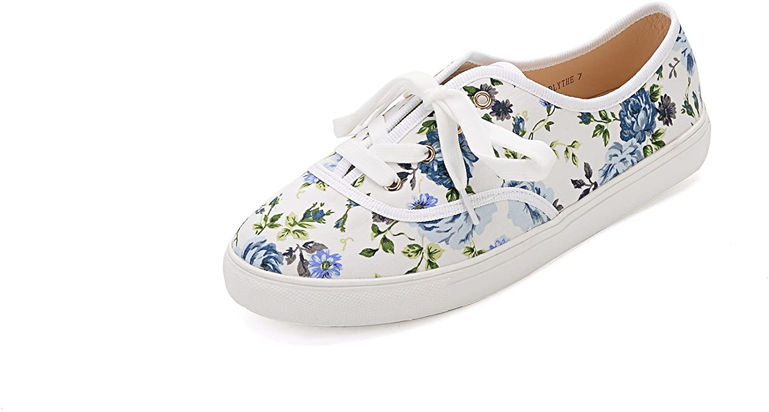 GREENS BLYTHEE Women Canvas Floral Lace Up Flat Sneaker