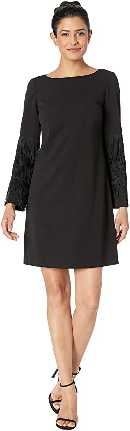 Knit Crepe Shift Dress w/ Bateau Neckline