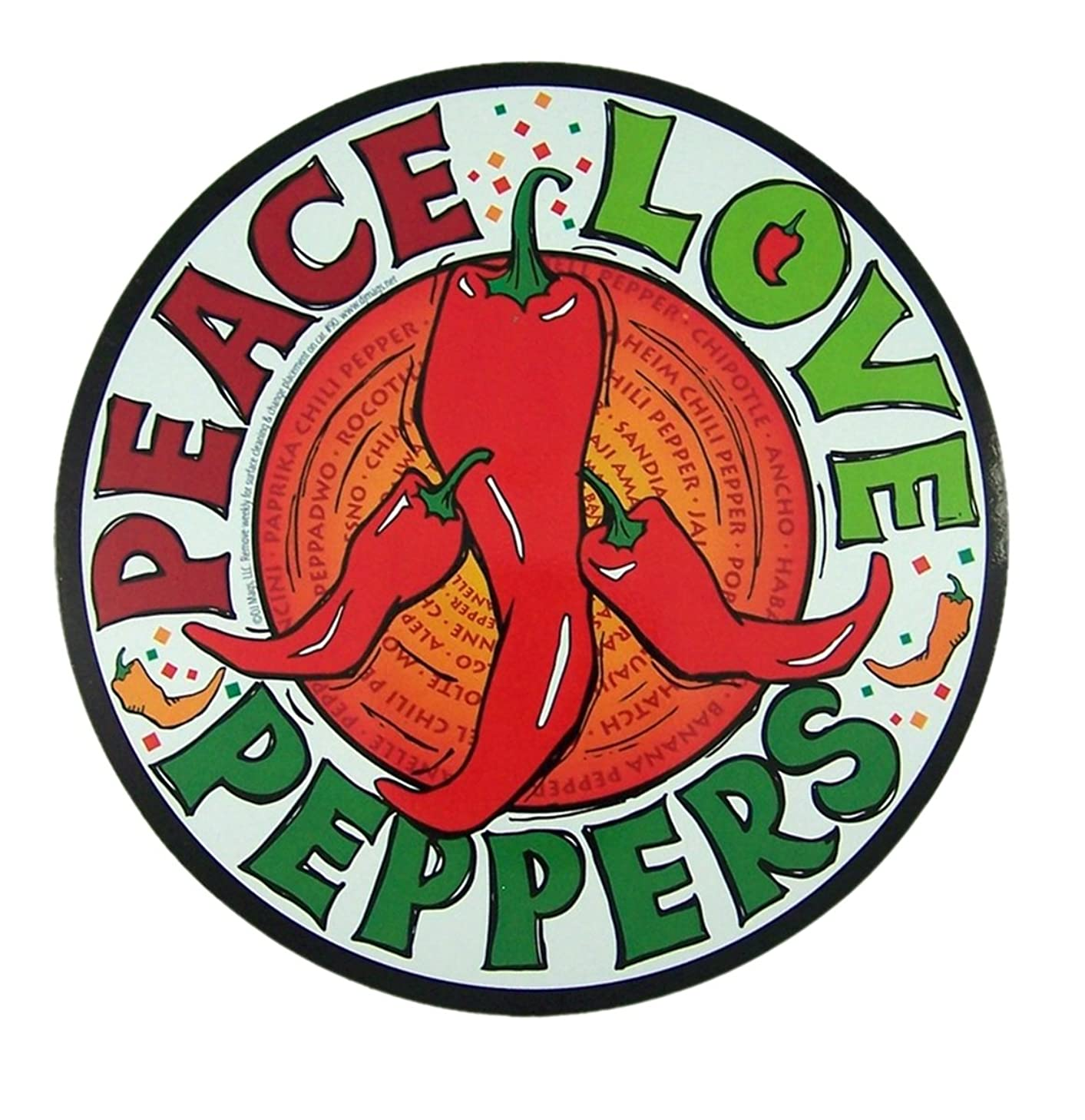 Peace Love Peppers Magnet for Car, Office or Refrigerator, 5 3/4 Inch
