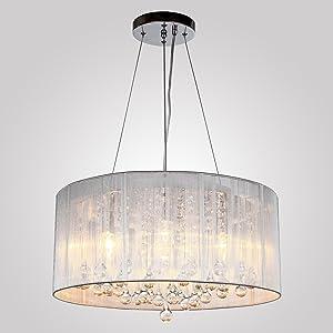 Glighone Lámpara Colgante Cristal LED 40W Lámpara de Techo Luz Moderna Lámpara de Araña Iluminación Contemporáneo Elegante 4*E14 Halógeno No Incluye Bombillas