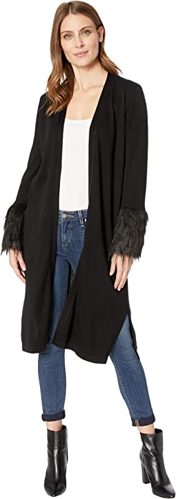 Long Sleeve Faux Fur Cuff Cardigan