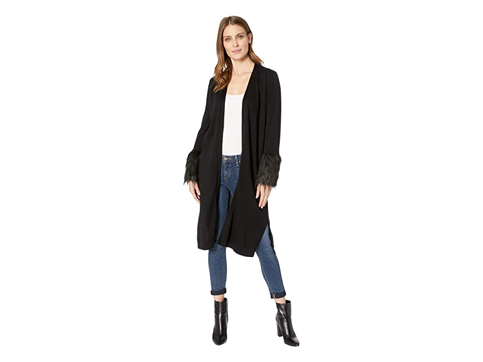 Vince Camuto Long Sleeve Faux Fur Cuff Cardigan (Rich Black) Women's Sweater