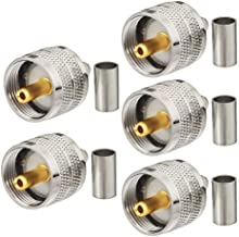 Eightwood 5pcs PL259 UHF Male Plug Crimp Coax Connector for RG58 RG400 RG142 LMR195 Cable
