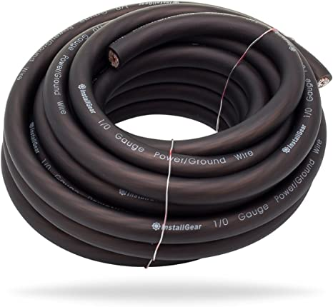 ROCKRIX 4 Gauge 25ft Black and 25ft RED Car Audio Power Ground Soft Touch Wire Cable