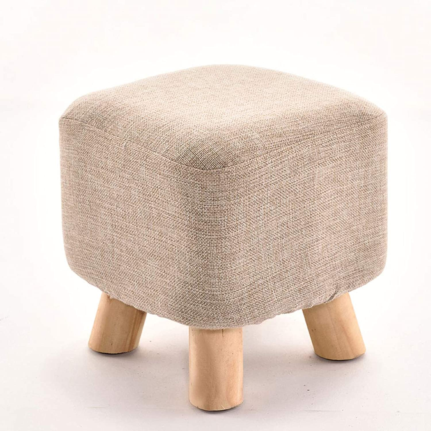 Cloth Small Low Stool Entrance shoes Wood Tea Table Sofa Stool Bench Solid Wood Stool Leg (color   Beige)