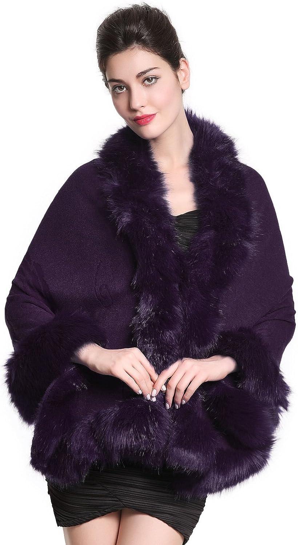 MISSYDRESS Iuxury Women's Bridal Faux Fur Shawl Wraps Cloak CoatS55 (Purple)