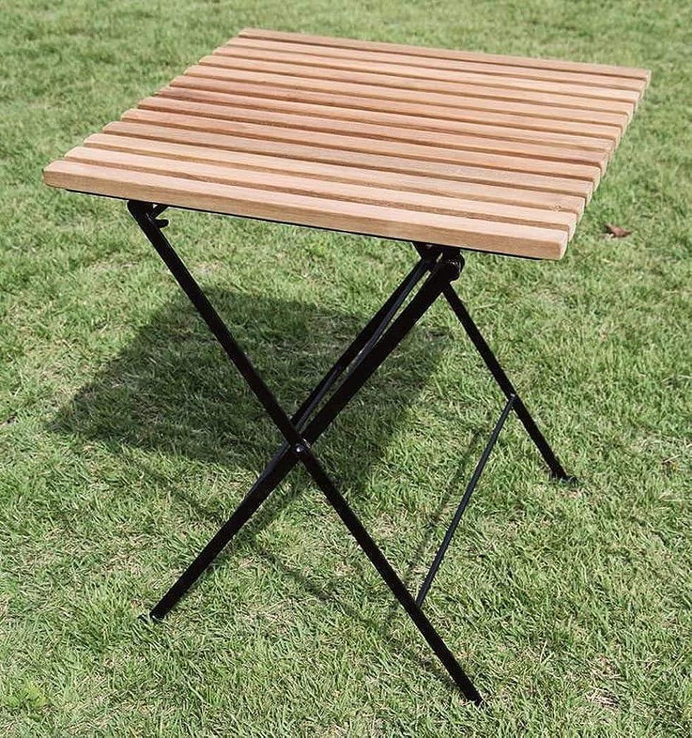 郡単語なくなるジャービス商事 天然木無垢材 ガーデンテーブル 折り畳みアイアンチークテーブル 34219 テーブルのみ チーク材 アイアン