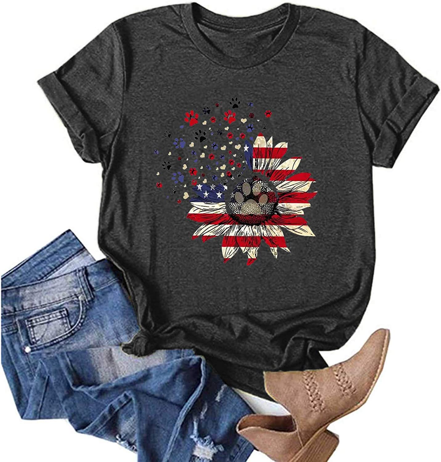 Womens Summer trust Tops Sacramento Mall Independence Day Sleeve Casual Short T- Comfy