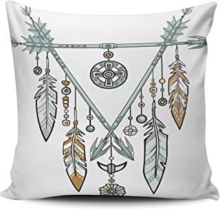 Hoooottle Home Decorative Triangle from Arrows Jewelry Feathers and Beads Ethnic Amulets American Indians Boho Pillowcase Double Side Printed Throw Pillow Case Cushion Cover Square 22x22 Inches