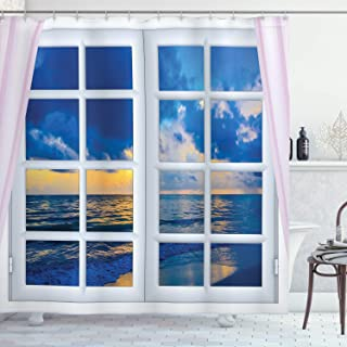 Ambesonne Landscape Shower Curtain, Sunset on The Sea Scenery from Window with Open Curtains Horizon Silence Relaxing, Cloth Fabric Bathroom Decor Set with Hooks, 75