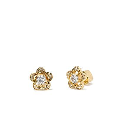 Kate Spade New York Jeweled Stencil Scallops Studs Earrings (Clear/Gold) Earring