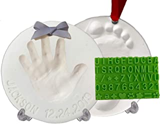 Baby Handprint Footprint Keepsake Ornament Kit (Makes 2) - Bonus Stencil for Personalized Christmas, Newborn, New Mom & Sh...