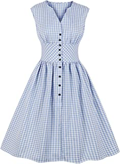 Killreal Women's 1950s Vintage Floral Printed V Neck Sleeveless Swing Dress