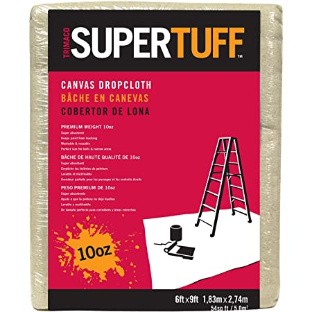 Trimaco 51129 SuperTuff Drop Cloth, 6' X 9', Tan