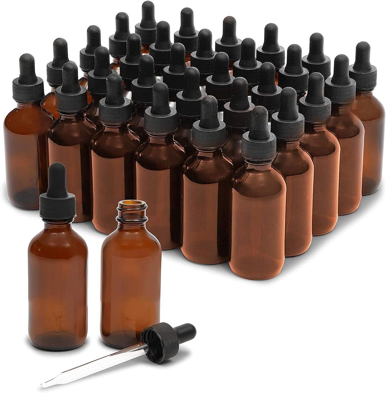 30 botellas cuentagotas de cristal ámbar de 2 oz y 6 embudos (60 ml, 36 piezas)