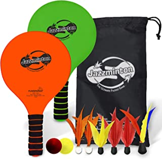 Funsparks Jazzminton Deluxe 3 in 1 Classic Beach Paddle Ball Game Set (6 Birdies - 2 LED, 2 Balls and A Reusable Bag) for ...
