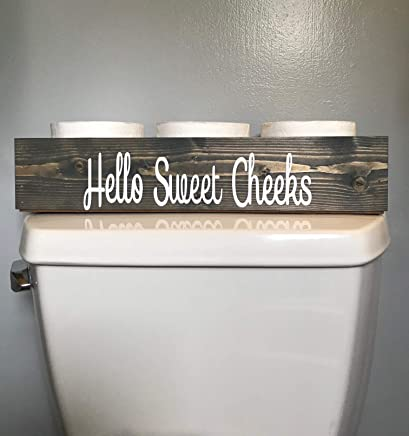 Cotton & Grain Hello Sweet Cheeks Decor Gray Bathroom Toilet Storage Toilet Paper Holder