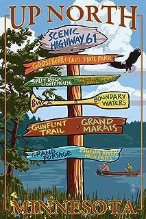 Gooseberry Falls, Minnesota - Destinations Sign (9x12 Fine Art Print, Home Wall Decor Artwork Poster)