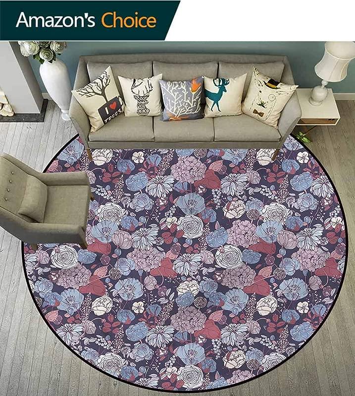 RUGSMAT Vintage Super Soft Circle Rugs For Girls Romantic Flowers Garden Home Decor Foor Carpet Diameter 24