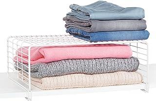 mDesign panier rangement pour l'armoire à vêtements – boîte de rangement moderne en métal à 2 étages pour les habits – pan...