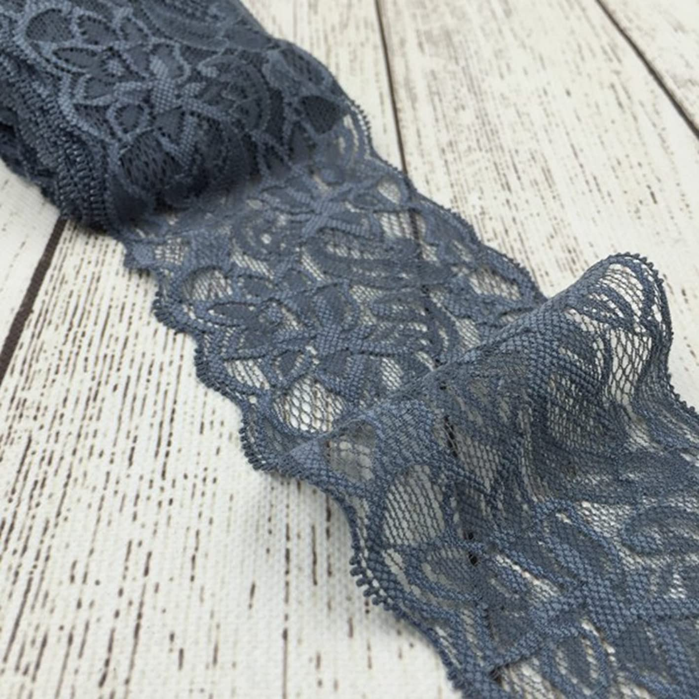 Grey Lace Trim, Tulle Lace Ribbon, Stretch Lace Fabric by The Yard for Sewing Baby Girls Hair Accessories (3.15 inch Wide, Grey, 10 Yards) xfndpqtxmlr668