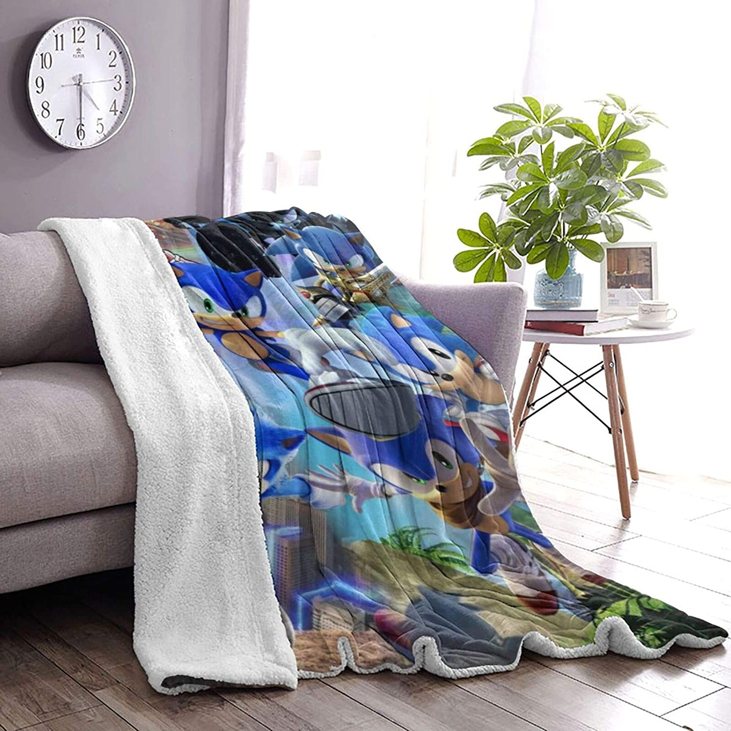 Hedgehog Warm Soft Blanket in Winter Lambswool Blanket Thickened Double Layer Double-Sided Throw Blanket for Kids Adults Gift Sofa Chair Bed Office 50 x40 Sonic-The