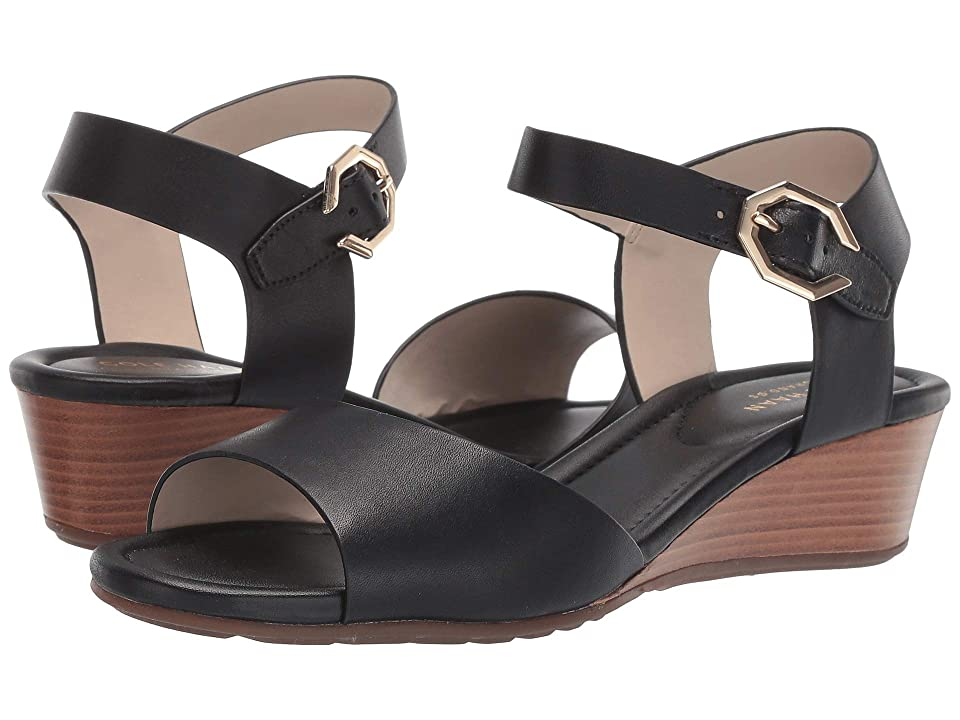 Cole Haan Evette Grand Wedge Sandal (Black Leather) Women