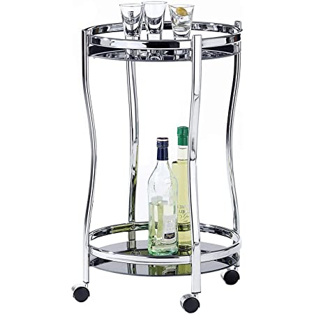 IDIMEX Chariot de Service Vega Table d'appoint Ronde sur roulettes Chariot à thé et Boisson en métal chromé, avec 2 étagères en Verre trempé Noir