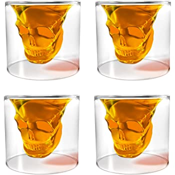 Unique Transparent Skull Shot Glass for Whiskey, Vodka, Cocktail Double Layer Halloween Party Design (4pcs)