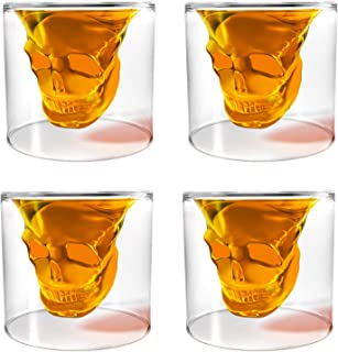 Transparent Crystal Skull Shot Glass Set (4 pcs)