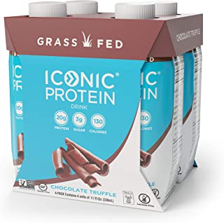 Iconic Protein Drinks, Chocolate Truffle (4 Pack) | Creamy, Low Calorie, Grass Fed, High Protein Shakes | Lactose Free, Gluten Free, Non-GMO, Kosher | Low Carb Snack & Breakfast Drink | Keto Friendly