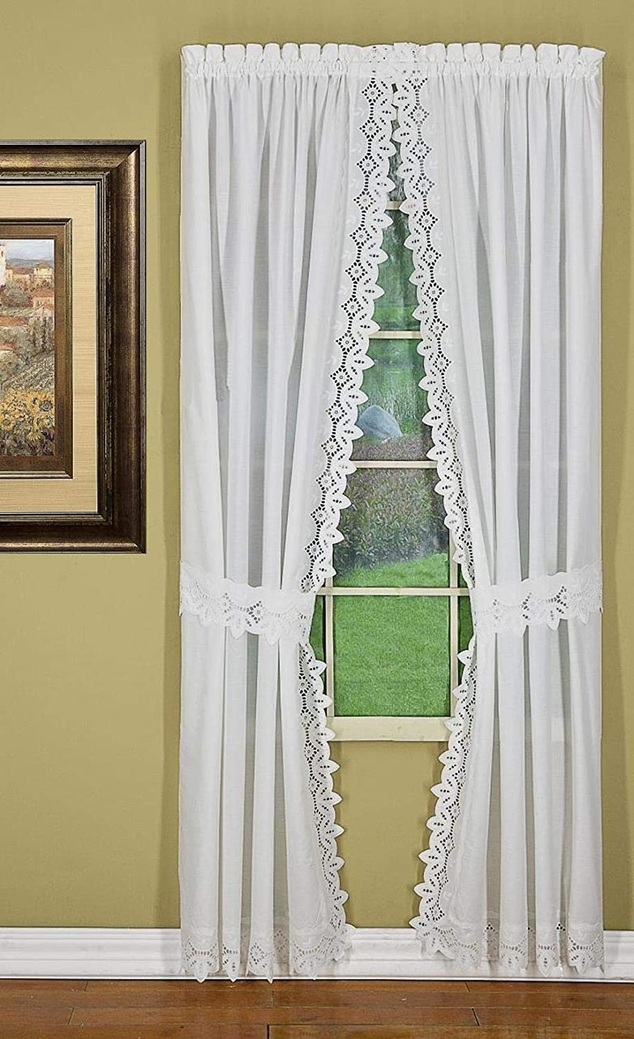 Amazon Com Today S Curtain Heirloom Eyelet Embroidered Cutwork Battenberg Style Window Collection White 80w X 63l Panel Pair With Tiebacks Home Kitchen