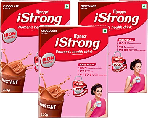 Manna iStrong 600g Iron Fortified Women s Health Drink Mix Chocolate Iron Supplement Iron Lock Formula with Vit C B9 B12 Improves Haemoglobin Fights Anemia Natural Multigrain Energy Drink
