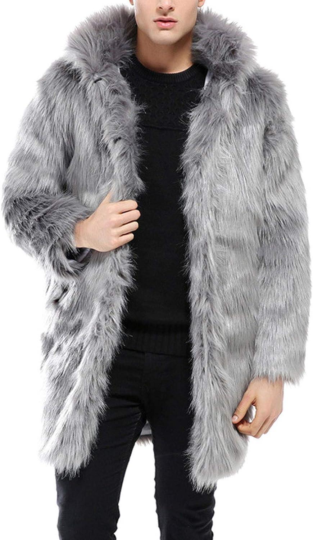 Flygo Men's Luxury Hooded Faux Fur Jacket Midi Furry Snow Cardigan Outwear