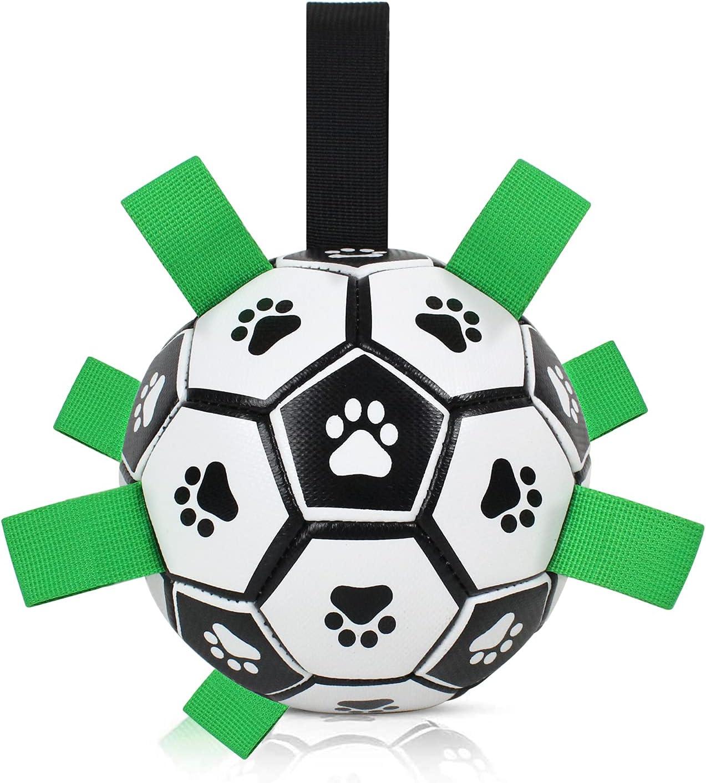 BRIAN & DANY Pelota de Fútbol para Perros con Agarres, Divertido Juguete Interactivo Perro Acuático Raza Pequeña y Mediana