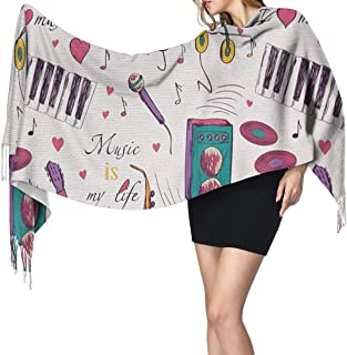 Music Records Blues Music is My Life Theme Unisex Fashion Fringe Scarf Long Shawl Wrap Scarves Warm Winter for Men/Women